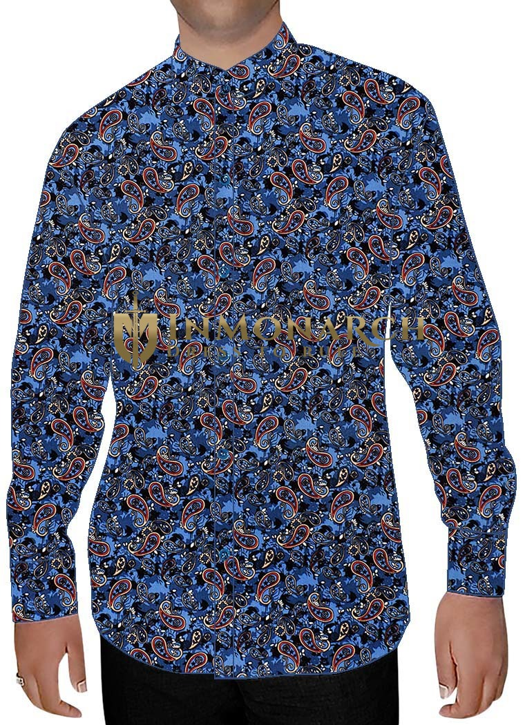 Mens Steel Blue Nehru Shirt Paisley Pattern