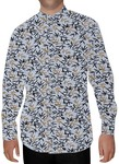 Mens Lavender Printed Cotton Nehru Shirt Partywear