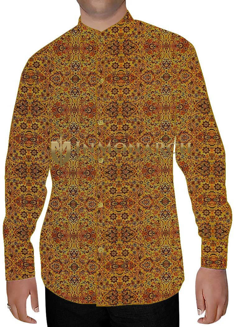 Mens Yellow Printed Cotton Nehru Shirt Hawaiian