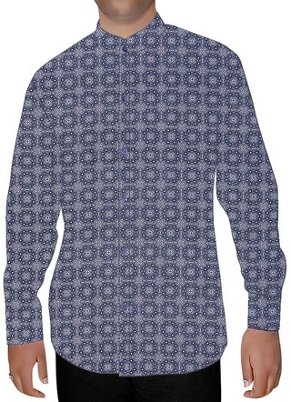 Mens Blue Printed Cotton Nehru Shirt Long Sleeves