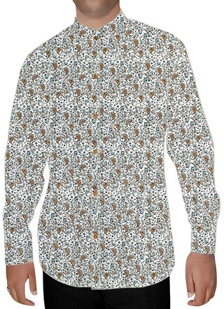 Mens Cream Nehru Collar Shirt Printed Paisley Design