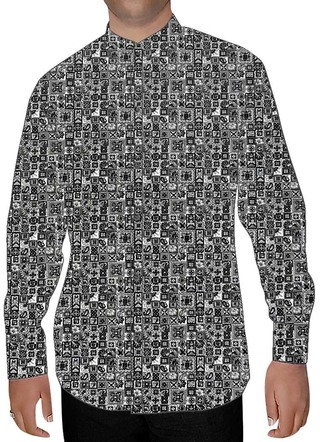Mens Gray Printed Nehru Collar Cotton Shirts