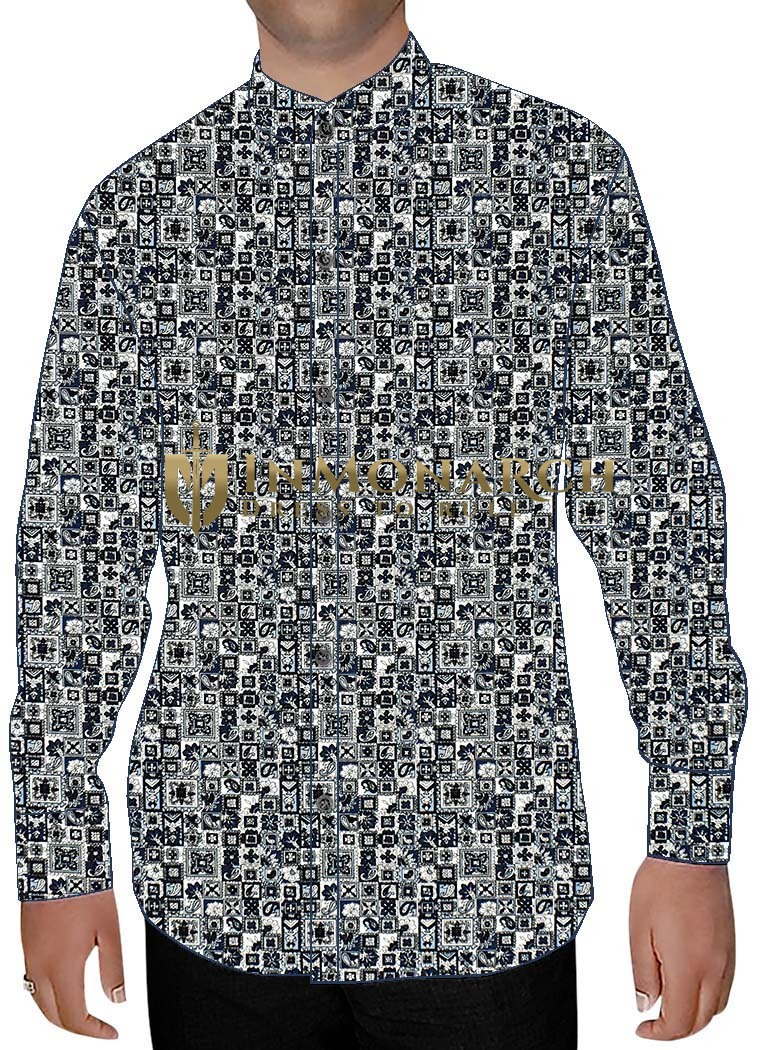 Mens Gray Printed Nehru Collar Shirts Classic Fit