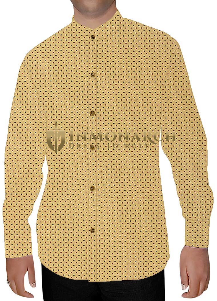 Mens Yellow Printed Nehru Shirt Polka Dot