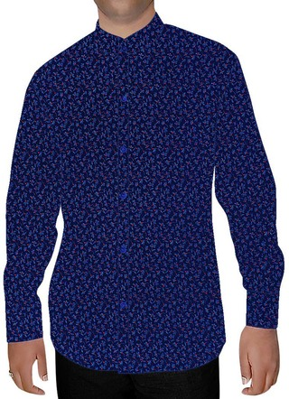 Mens Royal Blue Printed Cotton Nehru Collar Shirt