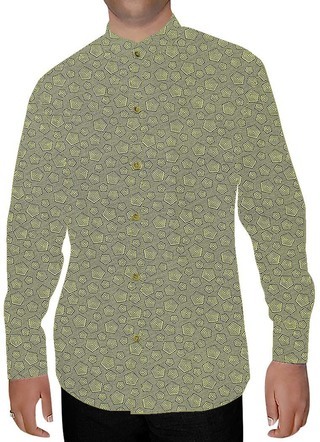 Mens Green Printed Nehru Collar Shirt Box Design