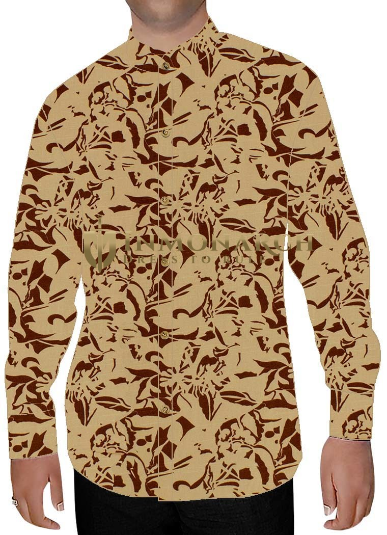 Mens Beige Printed Cotton Banded Collar Shirt