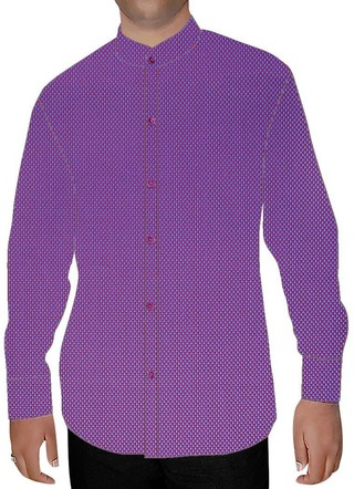 Mens Purple Cotton Nehru Collar Shirt Hawaiian