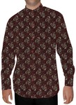 Mens Wine Printed Cotton Nehru Shirt Regular Fit