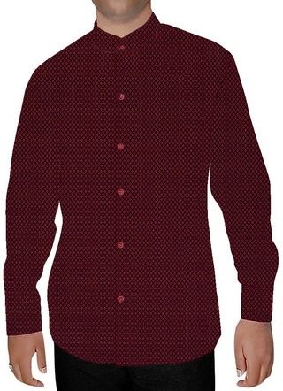 Mens Crimson Red Nehru Collar Shirt Formal