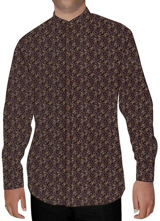 Mens Dark Brown Nehru Shirt Printed Floral