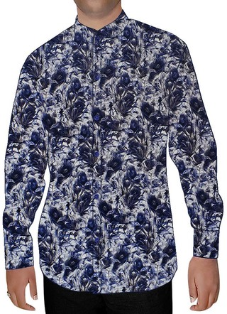 Mens White Printed Nehru Collar Shirt Summer
