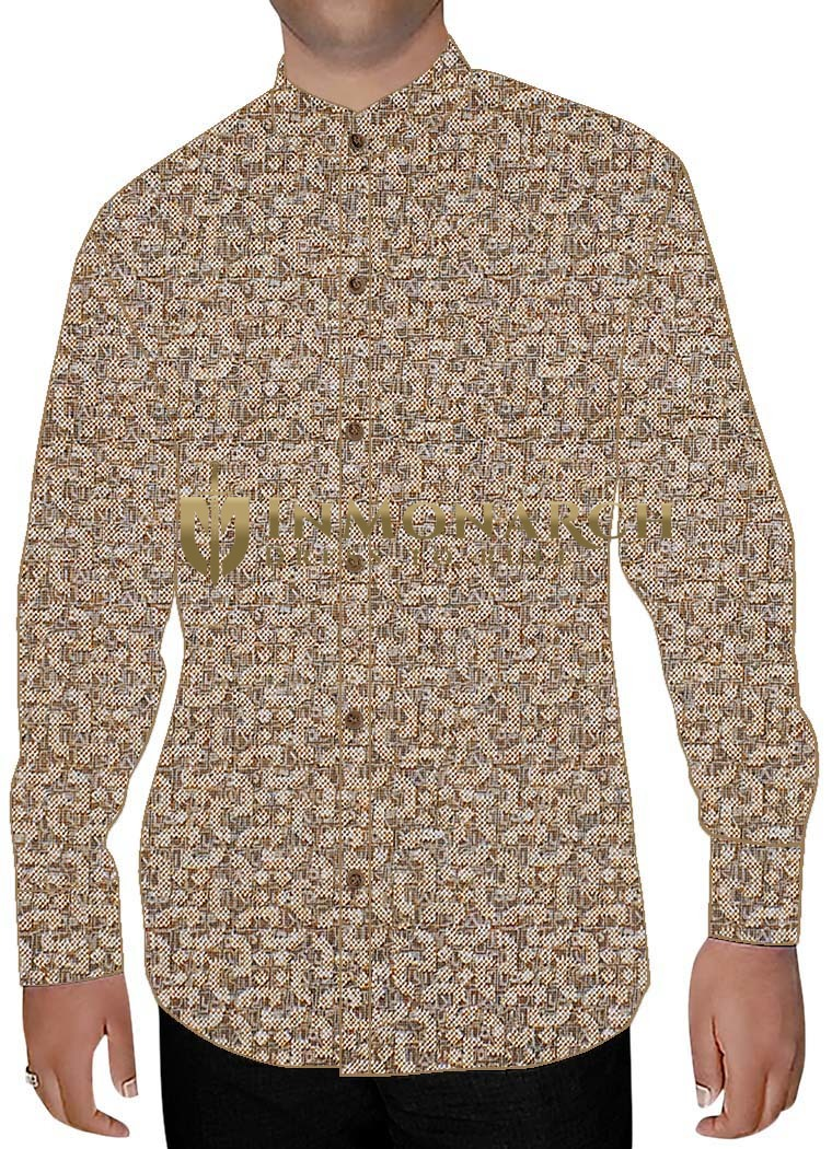 Mens Beige Printed Cotton Nehru Shirt Wedding