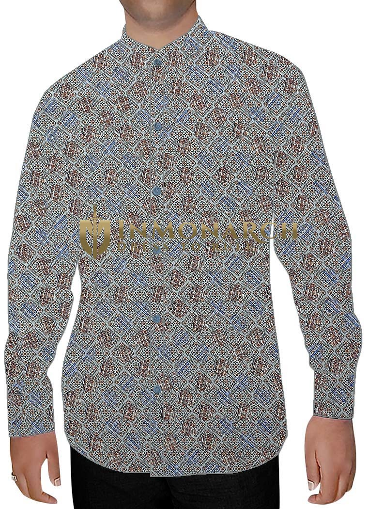 Mens Sky Blue Printed Nehru Collar Shirt Box Pattern