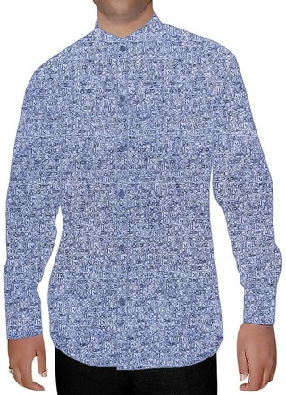 Mens Sky Blue Printed Nehru Shirt Lining Design