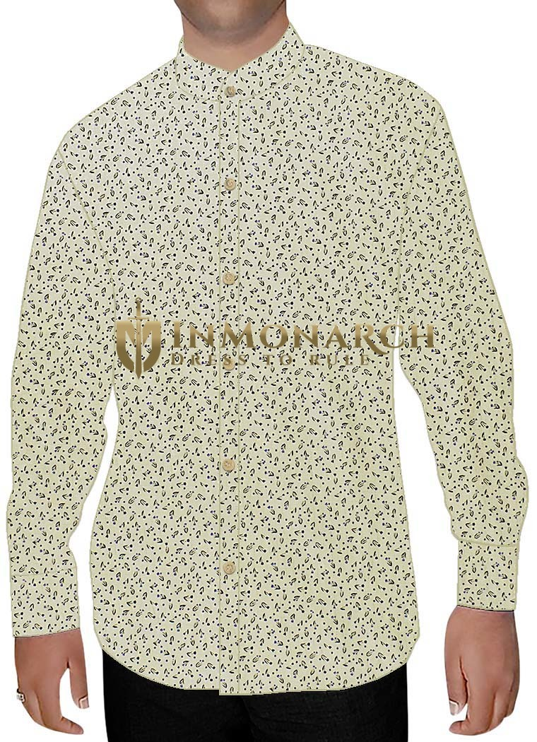 Mens Ivory Printed Nehru Collar Shirt Summer