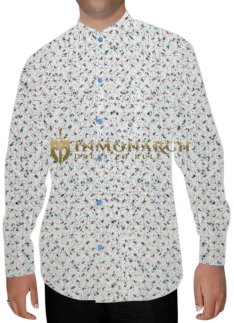 Mens Cream Printed Nehru Collar Shirt Hawaiian