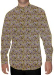 Mens Tan Printed Nehru Shirt Paisley Design
