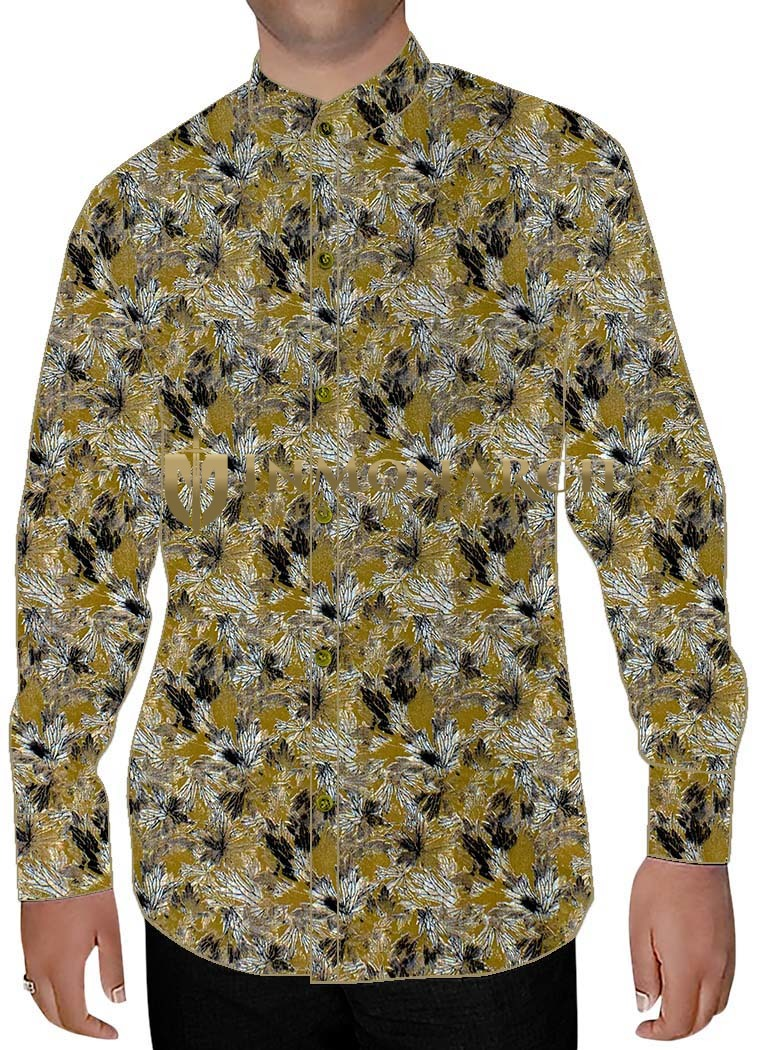 Mens Olive Drab Nehru Collar Shirt Floral