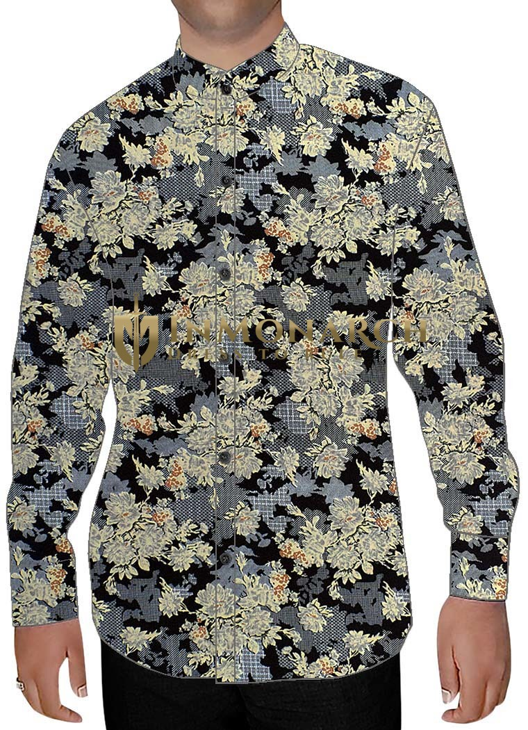 Mens Sharkskin Nehru Collar Shirt Big Floral Design