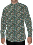 Mens Teal Nehru Collar Shirt Paisley Pattern