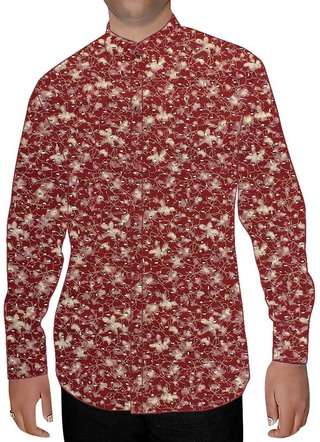 Mens Burgundy Printed Nehru Shirt Casual