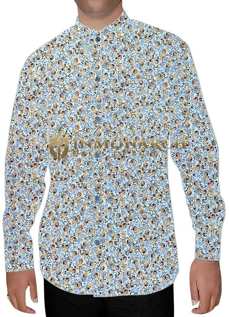 Mens Lavender Printed Nehru Collar Shirt