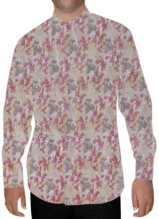 Mens Pink Printed Cotton Nehru Shirt