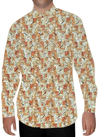 Mens Peach Printed Nehru Collar Shirt