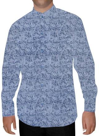 Mens Sky Blue Printed Cotton Nehru Shirt