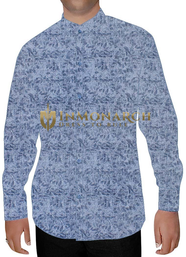 Mens Sky Blue Printed Cotton Nehru Shirt