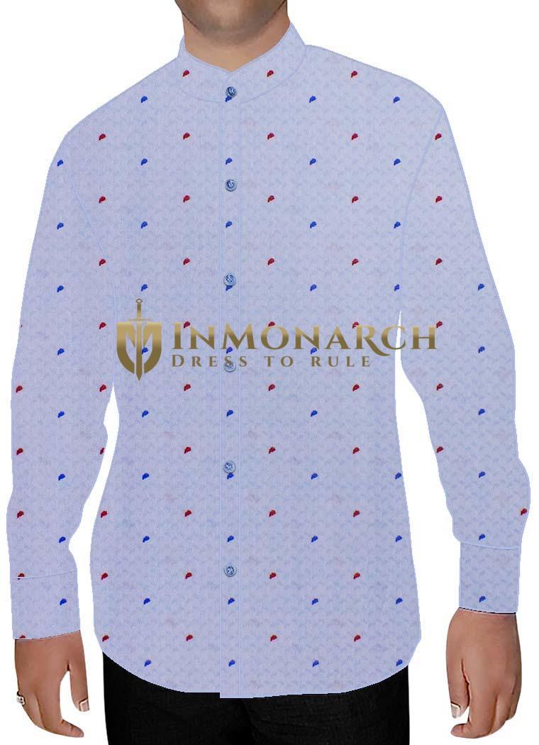 Mens Lavender Printed Nehru Shirt Polka Dot