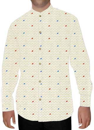 Mens Ivory Printed Nehru Shirt Polka Dot