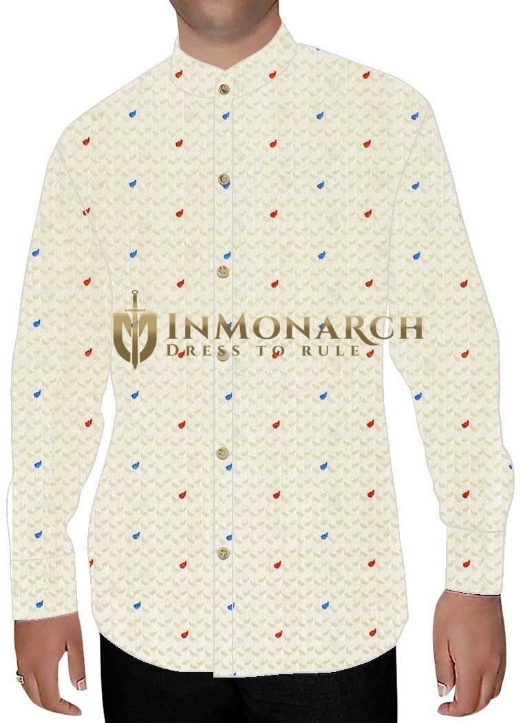 Mens Ivory Printed Nehru Shirt Polka Dot