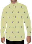 Mens Yellow Printed Nehru Shirt Polo Design