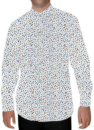 Mens White Printed Nehru Shirt Hawaiian