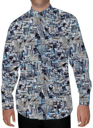 Mens Sky Blue Nehru Shirt Broken Print Pattern