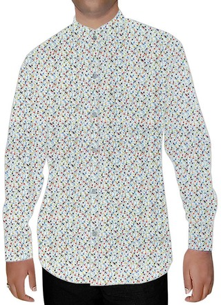 Mens Cream Nehru Shirt Polka Dot Printed
