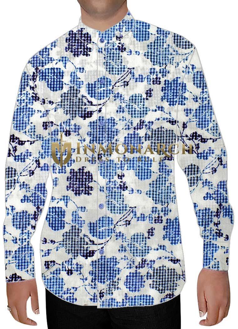 Mens White Cotton Nehru Shirt Floral Design