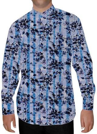 Mens Lavender Cotton Nehru Shirt Floral Pattern