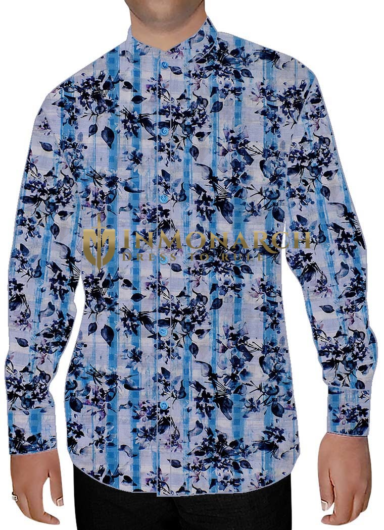Mens Lavender Cotton Nehru Shirt Floral Pattern