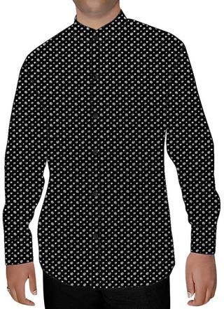 Mens Black Cotton Printed Nehru Shirt Hawaiian