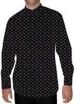 Mens Dark Navy Paisley Printed Nehru Collar Shirt