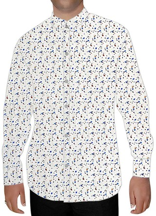Mens White Cotton Nehru Collar Shirt Blue Print