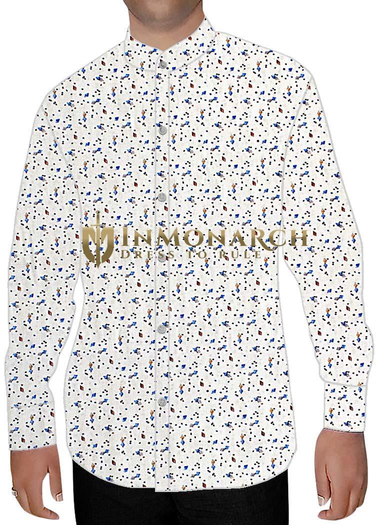 Mens White Cotton Nehru Collar Shirt Blue Print