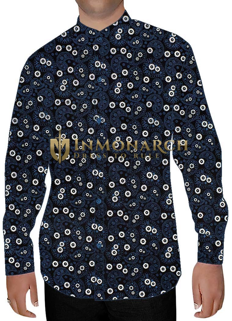 Mens Dark Navy Cotton Printed Nehru Shirt Formal