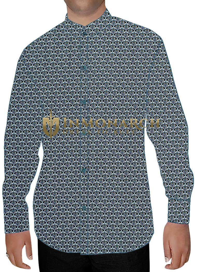 Mens Dark Navy Cotton Nehru Shirt Hawaiian
