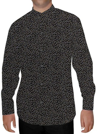 Mens Black Printed Cotton Nehru Shirt Partywear