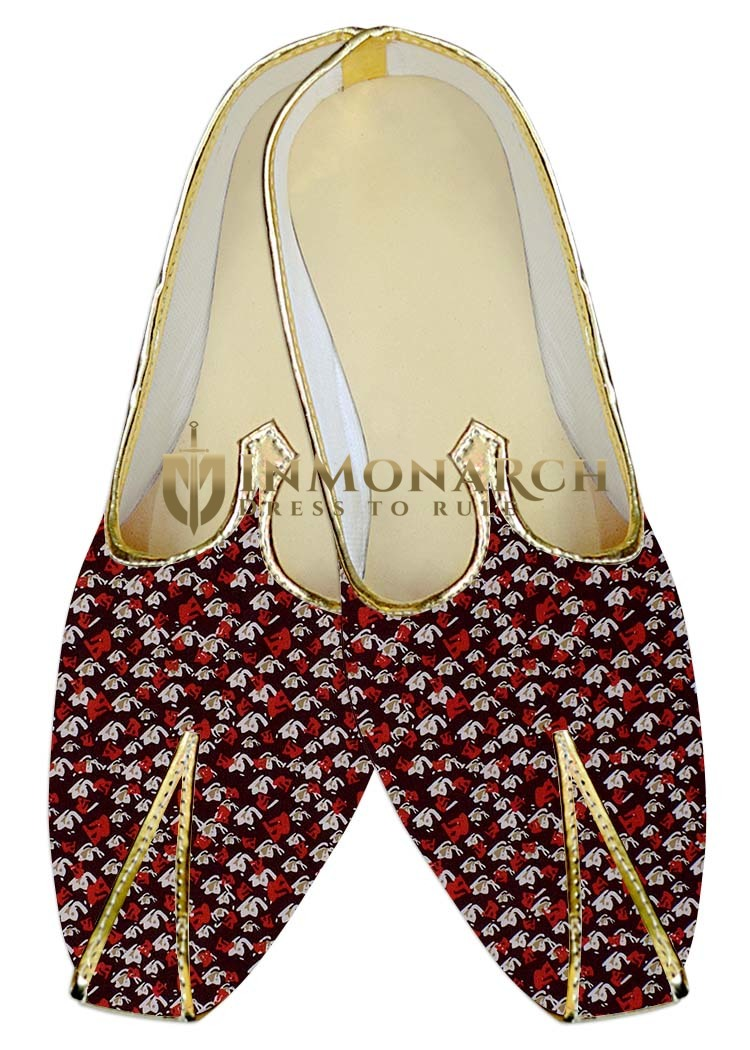 Mens Wedding ShoeFor Groom Maroon Wedding Shoes White and Red Design