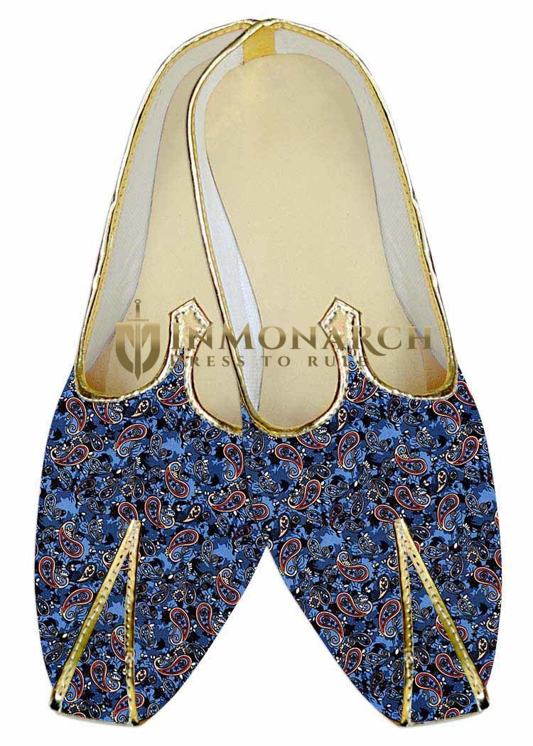 Juti For Men Steel Blue Wedding Shoes Paisley Printed Wedding Shoe